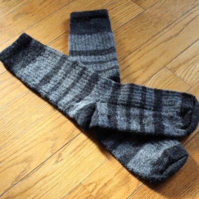 bas côtelé gris et noir